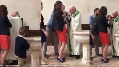 Copil BATUT si strans de gat de preot, la botez! Doamne fereste, ce a putut sa ii faca de fata cu parintii lui VIDEO