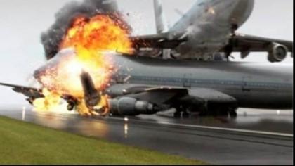 Avion cu 100 de pasageri, în flăcări la aterizare